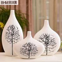 Wholesale Home accessories modern minimalist decorative ceramic flower flower holder home furnishing three piece vase white birch