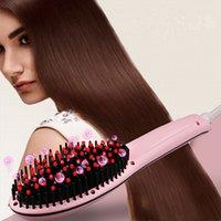battery heated coats - White LCD Digital Anti Static Ceramic Hair Straightener Heating Hair Brush