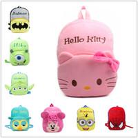 big cute backpacks - BIG SIZE New top qualtiy baby Hello Kitty school bags children character design backpack girls cute KT plush toy bags supermen