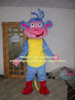 Wholesale Lovely Blue Monkey Dora The Explorer Monkey Boots With Yellow Belly Mascot Costume Mascotte Adult Fancy Dress No Free Ship
