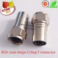 Wholesale copper RG6 cone shape Crimp f connector RG6 Hex Crimp F Type Connector Adapter RG6 coaxial cable f type plug