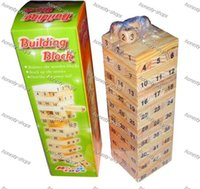 Wholesale New Arrival Children Jenga Wood Stacked Bricks Bricks Table Game toys new educational wooden Building blocks digital dice toys