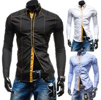 Wholesale New arrive Men Slim shirt Double color long sleeved Casual shirt