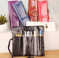 Wholesale HHA148 Vintage Retro Luxury Roll Leather Make Up Cosmetic Pen Pencil Case Pouch Purse Bag for School