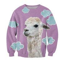 alpaca outerwear - Harajuku Print New Arrival Purple Lovely Fresh Alpaca D Printing Fashion Women Men Sweatshirt Hoodies Casual Pullover Outerwear FG1512