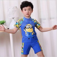 Cheap 100 TOPB4760 2 colors kids cartoon minions Swimwear Bathing Suit boy despicable me boxer Swimsuit Summer Clothing printed spring swim trunks