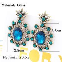 bi double - 2015 fashion jewelry double sided studs earrings for women piercings crystal The new glass factory direct crystal gemstone earrings retro bi