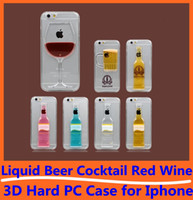 beer floating - Liquid Floating Dynamic Magical Beer Cocktail Red Wine D Case Hard Clear Transparent PC Back Cover For iPhone Plus S High Quality