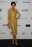Cheap Nieves Alvarez 2015 Inspired Celebrity Dresses a long sleeved very plunging neckline lace gold cocktail dress Elie Saab Spring 2014
