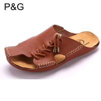beach yellows business - New Fashion summer Casual Genuine Leather Men sandal shoes walking shoes business shoes Soft Loafers beach slippers