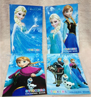 Wholesale Kids Children Elsa Anna Olaf Stickers Oil Painting Notebook Drawing Book Stationery Cute Drawing Book Colouring Book Xmas Gifts