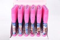 Wholesale 600 New set Elsa Anna Princess Stationery Projection Pen LED Light Children Stationery Ballpoint Pen For Kid Gift T70