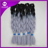 Wholesale 24 quot g Black Grey Ombre Two Tone Kanekalon Jumbo Braiding Synthetic Hair For Dreadlocks Crochet Box Braids Twist