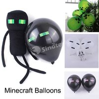 latex cartoon - Minecraft Creeper Balloons Latex Green Color Birthday Party Decorations Toy For Children Kids NEW Christmas Gift Free UPS Factory Price