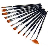acrylic paint wood - 12 HB S13 nylon Painting Brush Set Watercolor Gouache brush Acrylic Paint Art dark blue