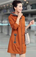 Wholesale HOT sale High quality women s slim HOODED temperament PURE COTTON Outerwear Trench Coats