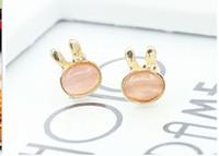 Wholesale Beautiful Cute Rabbit Moonstone Opal Earrings Korean Popular Ear Jewelry Stud earrings Earrings For Women Fine