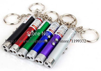 Cheap car 100pcs lot Mini 2 in 1 White Light 1 LED Light Red Pen Laser Pointer Keychain Key chain Flashlight Latern