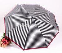 barometer rain - Black and white striped umbrella folding umbrellas UV three folding umbrella UV barometer dual