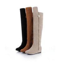 / Beige / Zapatos de mujer al por mayor de Brown-Black Faux Suede Zip Hasta cuña interior Tacones Ladies 'Over Rodilla Botas Casual tamaño los EEUU 4-10,5 / UE