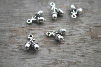 acorn charm - 30pcs Acorn Charms Antique Tibetan Silver Tone D Acorn charm Pendants x11mm