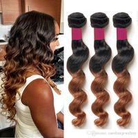Wholesale Virgin Hair Grade Human Hair Extension Weaving Brazilian Loose Wave Pieces Ombre Wavy Brazilian Virgin Hair Bundle