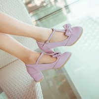 almond candy - Spring and Summer Sweet Women Shoes Bowtie Women s Med Pumps T Strap Thick Heel Lolita Shoes Mary Janes Shoes Candy Colors