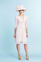 Cheap 2015 Off The Shoulder Cap Sleeves Mother Of Bride Dresses With Jacket Lace Knee Length Pink Chiffon For Evening Wedding Mothers Dress 991024