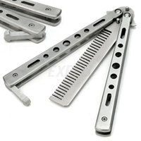 Wholesale New hot sale Stainless Steel Practice Training Butterfly Balisong Style Knife Comb Cool Sport