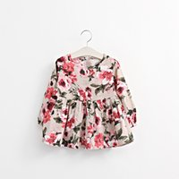 Wholesale The arrival of new baby girl flowers Print dress short bow spring autumn clothes children clothing