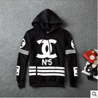 hoodies - Hot sale New Korean men Fashion brand personality homme femme coco channel sweatshirt printing long sleeve sweater hoodies