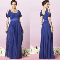 Wholesale 2015 Royal Blue Chiffon Bridesmaid Dresses Scoop Cap Sleeve Ruffles Sash Backless Long Evening Gowns Floor Length Formal Party Dress