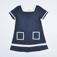 magic cube - Retail Magic cube girls dresses for party children Short sleeve dress Square Neck Pocket kids clothes baby girl clothing HX