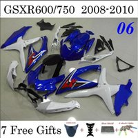 Wholesale 7 Gifts Fairings Fit Suzuki GSXR600 GSXR750 GSXR OEM Blue White Cowling Kits Custom Injection Body