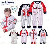 Wholesale 2015 baby spring autumn clothes baby long sleeve baseball striped rompers babies sport long bodysuit set baby boy outerwear
