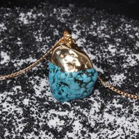 turquoise stones - 2015 Hot sell Fashion Turquoise Quartz Gems Round Cut Natural Stone Necklaces Charm infinite statement necklace jewelry best gifts