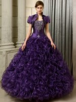 affordable quinceanera dresses - 2016 Girls Affordable Princess Prom Dresses Purple Long Beaded Ruffles Organza Girls Sweet Quinceanera Dresses With Jackets qd10040