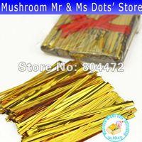Wholesale cm gold color wedding favor box twist tie per