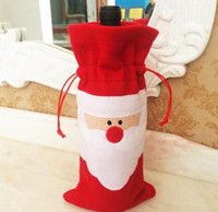 Wholesale Christmas stockings cm Santa Claus Red Wine Bottle Cover Bags Christmas Table bottle bag Party Supplies