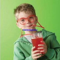 soft drink - 20pcs Funny glasses drinking straw silly straws glasses soft tube flexible drinking glasses straw bar halloween party props