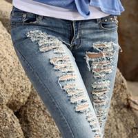 Pocket acid wash jeans - High Quality Pencil Destroyed Skinny designer jeans Women ripped jeans Woman Brand Acid Wash Ripped Jeans for women Z403