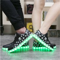 Wholesale 2016 Male skulls couples male and female students shine shoes led lights usb charging step han edition ghost dance sneakers
