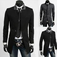 bamboo cotton fleece - 2017 new arrival fashion top overcoat mens jackets mens slim lapel woolen trench coat warm winter long bodycon jacket outerwear overcoat