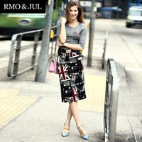 union jack dress - Luo boutique spring women new fashion knit Union Jack printing stitching Slim package hip dress
