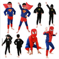 Wholesale Halloween Costumes Batman including shirt pants caps cloak Costumes for Children