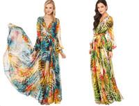 Wholesale 2014 new arrival womens V neck Summer tropical flower print chiffon long sleeve temperament long dress