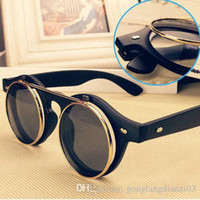 Wholesale Hot Steampunk Goth Goggles Glasses Retro Flip Up Round Sunglasses Vintage Black and Brown