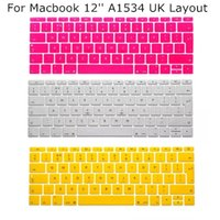 Wholesale 5pcs UK Layout Keyboard Protector Cover Case Skin for Macbook quot inch A1534 New Multi Color For Choose