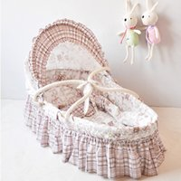 Wholesale Lovely Baby Basket With Long Skirt Baby Bedding Cribs Colors Handmade Corn Bran Woven Bassinet Baby Care Product Cot