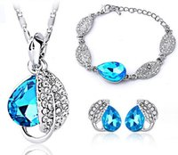 Wholesale 2016 Trendy colors Cubic Zirconia Leaves Pendant Necklace Bracelet Earrings For Women Crystal Bridesmaid Jewelry Sets Necklace Earrings
